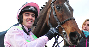 PUNCHESTOWN 10-1-2015. The www.sportinglife.com Moscow Flyer Novice Hurdle.DOUVAN and Ruby Walsh after their win. Photo: HEALY RACING.