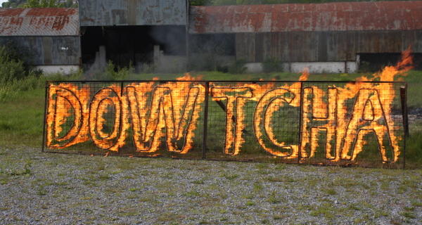 Dowcha practising their fire drawings and bonfire sculptures before bonfire night