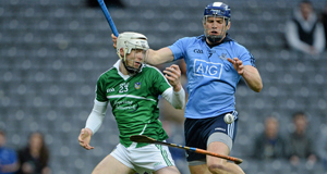 Limerick's Cian Lynch loses possession of both ball and hurley as Dublin's Conal Keaney closes in during Saturday's clash at Croke Park. Picture: Brendan Moran