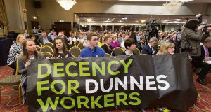 Delegates show solidarity with Dunnes workers at the INTO annual congress at the West County Hotel, Ennis, on Tuesday.