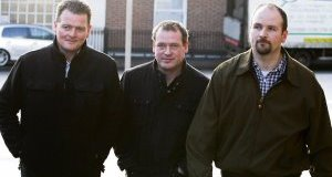 James Fegan, Mark Quinn, and William Fegan leaving court yesterday after giving evidence in the trial of Graham Dwyer, who has pleaded not guilty to the murder of Elaine O'Hara in the Dublin Mountains in August 2012. Picture: Courtpix