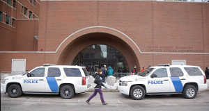 Homeland Security vehicles are staged outside the main doors of the federal courthouse today. Picture: AP