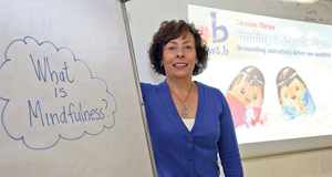Just a moment: Ena Morley, Principal at St Ultan's Primary School, Cherry Orchard, Dublinpictured teaching Mindfulness classes.