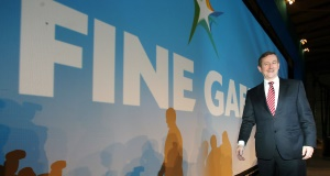 Taoiseach Enda Kenny at the Fine Gael Ard Fheis today. Picture: Brian Lawless/PA
