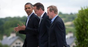 Taoiseach Enda Kenny with US President Barack Obama and British Prime Minister David Cameron at the G8 summit. Picture: PA