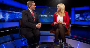 Enda Kenny and Miriam O'Callagahan on RTÉ's Prime Time.
