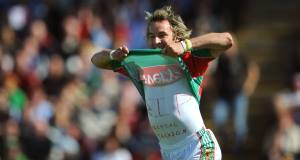 July 2009: Conor Mortimer celebrates the second Mayo goal in the Connacht SFC final against Galway at Pearse Stadium by lifting his jersey to reveal his tribute to Michael Jackson.  Picture: Ray McManus/Sportsfile