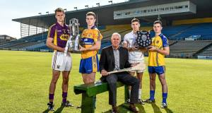 Bord Gáis Energy Sports Ambassador Ger Cunningham, centre, with, from left, Wexford captain Shane O'Gorman, Clare captain Tony Kelly, All-Ireland 'B' finalists Kildare captain Gerry Keegan and Roscommon's Paul Kenny. Picture: Matt Browne/Sportsfile