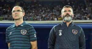 Martin O'Neill and Roy Keane watch from the sidelines during Ireland's European Championships qualifier against Georgia