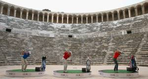 Sergio Garcia, Henrik Stenson and Lee Westwood hit balls over the walls of the 2,000 year-old Amphitheater of Aspendos at the launch of the 2014 Turkish Airlines Open. Picture: Ian Walton/Getty