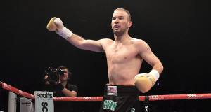 John Joe Nevin celebrates after defeating Jack Heath in the first round. Picture: Ramsey Cardy