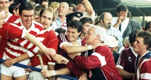 Coach, then Fr Michael O'Brien, celebrates Cork's win over Galway in the 1990 All-Ireland SHC final at Croke Park  with Ger Cunningham,  Brendan Jer O'Sullivan and Denis Walsh.