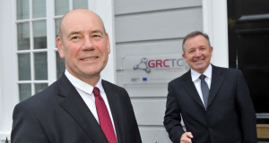 At the new €5m Financial Services Governance, Risk and Compliance Technology Centre in Cork were Peter Cowap, centre director, and Dr Tom Butler, centre principal investigator. Picture: Dan Linehan