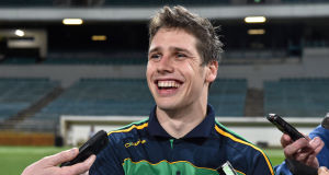 Lee Keegan in jovial mood as he is interviewed by the press after squad training in Perth. Picture: Ray McManus / SPORTSFILE