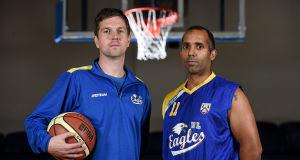 Paul Kelleher, left, pictured with UL Eagles guard Matt Hall. Picture: Brendan Moran / SPORTSFILE