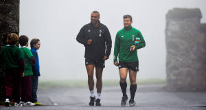 SOMEDAY... Ireland's Simon Zebo and Gordon D'Arcy on their way to a training session at Carton House. Picture: Stephen McCarthy/SPORTSFILE
