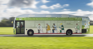 The Bio-Bus which is powered entirely by human and food waste. Picture: PA