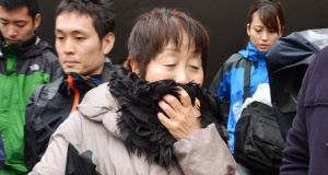 Chisako Kakehi answers a reporter's question in Sakai, western Japan. Picture: AP