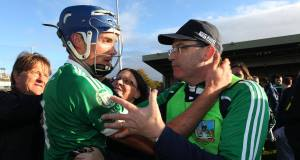 Manager Ger O'Loughlin and Gavin O'Mahony celebrate Kilmallock's Limerick SHC final win over Na Piarsaigh. Picture: Inpho/Lorraine O'Sullivan
