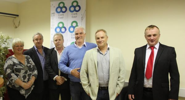 Catherine Murphy, Noel McGrath, John Squires, Ben Gilroy, Raymond Whitehead, and Joe Blake at the opening of the Cork East Office of Direct Democracy Ireland last June. McGrath has since resigned as branch chair.