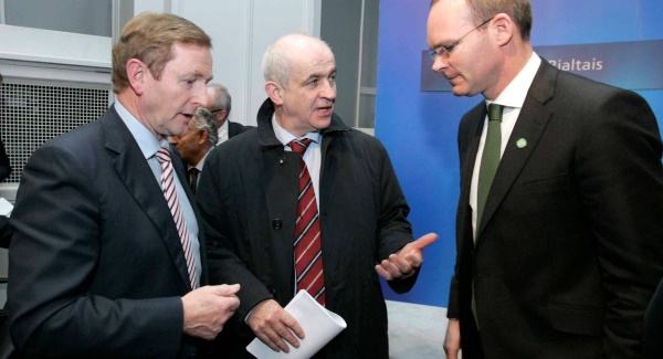 Agriculture Minister Simon Coveney, Taoiseach Enda Kenny and IFA president Eddie Downey.  Picture: Mark Stedman