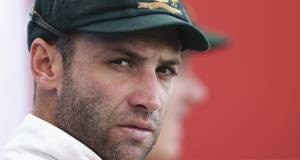 Batsman Phillip Hughes, who was wearing a protective helmet, was hit by a ball on the  lower left side of his head.