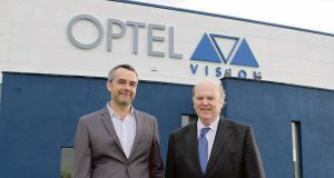 Finance Minister Michael Noonan, with Louis Roy, president of Optel Vision, at the official opening of the Optel Vision EMEA Office in Raheen Business Park, Limerick. Picture: Brian Gavin/Press 22