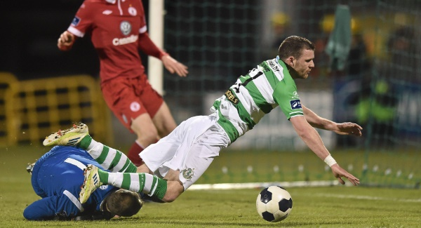 DOWN TIME: Shamrock Rovers' Ciaran Kilduff takes a tumble in a clash with Sligo keeper Gary Rogers. Picture:  Sportsfile