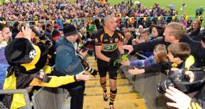 Kieran Donaghy is congratulated by Austin Stacks fans after beating Mid-Kerry in the Kerry SFC final replay. Picture: Eamonn Keogh