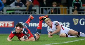Munster's Robin Copeland scores the first try in the Guinness Pro12 game against Ulster. Picture: Ryan Byrne