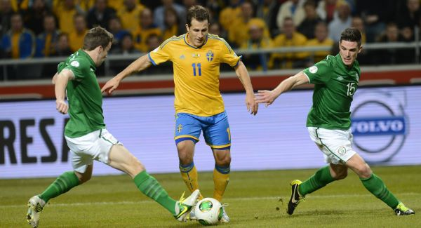 Sweden's Tobias Hysen holds off the Republic of Ireland's Seamus Coleman and Ciarán Clark during the goalless qualifier at the Friends Arena in March. Picture: Jonathan Nackstrand/AFP/ Getty Images