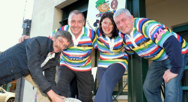 Stephanie O'Halloran, with Limerick Leprechauns' Owen South, and Declan O'Halloran, and Stephanie's father John Fanning, who are organising a charity rugby game to raise funds for treatment for the young mother-of-one who has terminal cancer