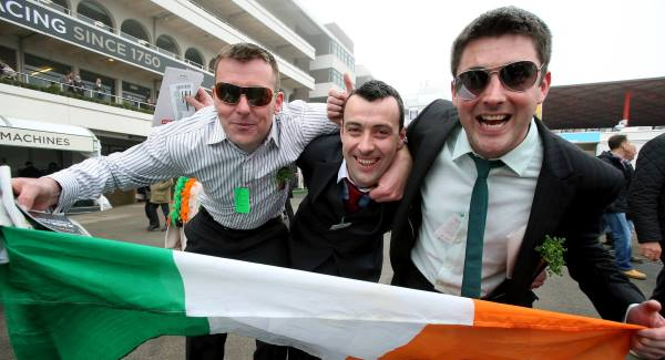 David Gill, Declan Corbett and James Corbett from Castlebar, Co Mayo enjoying Paddy's Day at Cheltenham