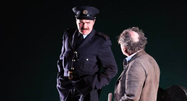 Garret Keogh as Mick Dowd and Patrick Ryan as Garda Thomas Hanlon in A Skull in Connemara, currently on tour.