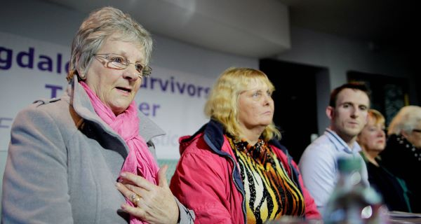 Magdalene Survivors Together members  Marina Gumbold, Mary Smyth, Stephen O'Riordan, Maureen Sullivan, and Diana Croghan at the press conference in the Handel Hotel, Dublin, last year