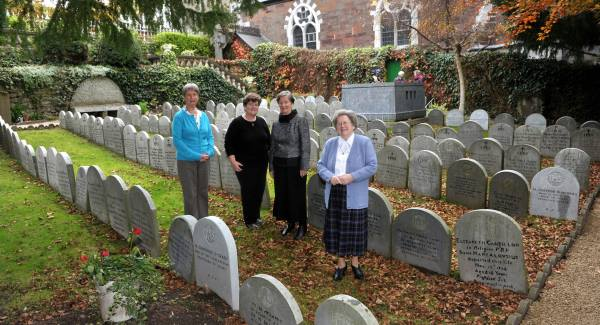 Srs Jo McCarthy, Anne Coffey, Una Burke and Patricia O'Shea in the grounds of the South Presentation Convent, with the tomb of Nano Nagle in the background. Pic Dan Linehan
