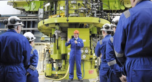 British Prime Minister David Cameron delivers a speech to workers in the Charge Hall at Hinkley Point B in Somerset.