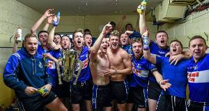Sarsfields players celebrate with the Seán Óg Murphy cup after defeating Glen Rovers in the Cork SHC final at Páirc Uí Chaoimh.  Picture: Stephen McCarthy/Sportsfile