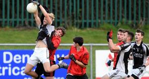 ON AIR: St Francis College's Cathal Sheehan wins this high ball from CBS HS Clonmel's Danny Owens in the Corn Uí Mhuirí clash at Mourneabbey. Picture: Eddie O'Hare