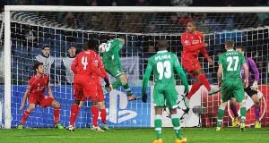 THE EQUALISER: Ludogorets' Georgi Terziev breaks Liverpool hearts with a late goal in the Champions League clash at the Vasil Levski National Stadium, Bulgaria. Picture: Andrew Powell