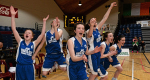 FINAL WHISTLE: St Louis Kiltimagh players celebrate victory over Mercy Mounthawk in the All-Ireland U16B Girls Schools Cup final at the National Basketball Arena, Tallaght. Picture: Matt Browne