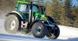 World Rally Champion Juha Kankkunen setting the new world record for fastest tractor 130.165 km/h (80.88mph) on a snowy road in Finnish Lapland.