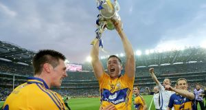 Lynch, centre, celebrating victory following the All-Ireland final.