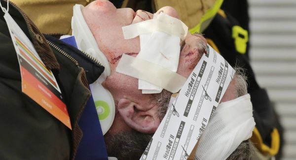A victim of the Seastreak Wall Street ferry accident waits to be carried by stretcher to an ambulance. Picture: AP