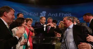 Micheál Martin is congratulated by the party faithful after making his leader's address during the closing ceremony of the Fianna Fáil ard fheis in the RDS on Saturday evening.