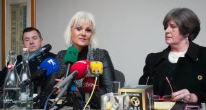 Jim Doyle, Fiona Doyle Ellen O Malley Dunlop from the Rape Crisis Centre speaking to media at the Ashling hotel, Dublin followng the announcement that the Court of Appeal revised a sentence for Patrick O' Brien.