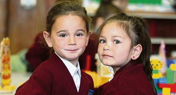 Kaylah Greensmyth and Amelia Janota on their first day in school in Loughrea, Co Galway. Picture: Hany Marzouk