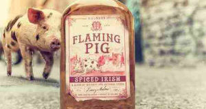 A bottle of Flaming Pig Whiskey
