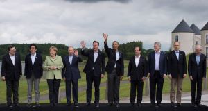 G8 leaders pose for the traditiional 'family photograph' on the shores of Lough Erne today. Picture: PA