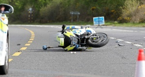 The injured garda's motorcycle at the scene today. Picture: Jim Coughlan